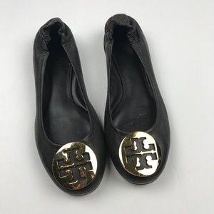 Tory Burch Reva Brown Gold Ballet Flats 6